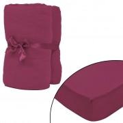 vidaXL Чаршафи с ластик за водни легла 2 бр 2x2 м памук бордо