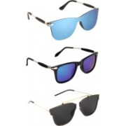 Pogo Fashion Club Wayfarer, Retro Square Sunglasses(Black, Blue)