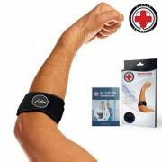 Dr. Arthritis Tennis Golfer's Elbow Solution/ Support Strap/ Brace + Doctor Written Handbook (Single Black)