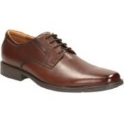 Clarks Tilden Plain Brown Leather Lace Up For Men(Brown)