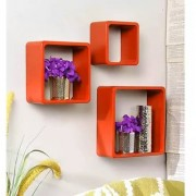 Onlineshoppee Square Nesting MDF Wall Shelf Size(LxBxH-10x4x10) Inch - Orange