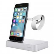 Belkin Valet Charge Dock - сертифицирана докинг станция за зареждане на iPhone и Apple Watch (сребрист)