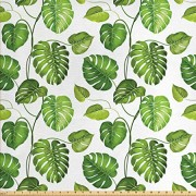 Lunarable Leaf Fabric by The Yard, Tropical Jungle Rainforest Leaves Palm Mango Tree Wild Leaves Art Print, Decorative Fabric for Upholstery and Home Accents, 2 Yards, Pale Green and White