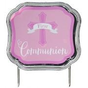 """amscan Decoración para Tarta de Primera comunión, Rosado, 4 1/2"""" x 5"""", 1"""