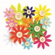 Geen Hobby vilt 12 gekleurde vilten bloemen met knoop 3,5-7 cm