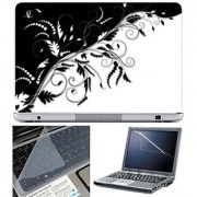 FineArts Laptop Skin 15.6 Inch With Key Guard & Screen Protector - Black and White Leaves Abstract