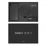 NILLKIN Fancy Wireless Charging Gift Set with iPhone X Case + Wireless Charger + 3 in 1 Cable (Not Support FOD Function) - Black