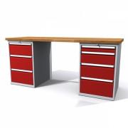 TechnoBank Pracovní stůl dílenský - šířka 2000mm ALCERA PROFI se zásuvkami červená - ral 3000
