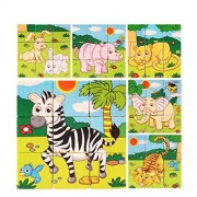 VolksRose 9 Pcs Wooden Cube Block Jigsaw Puzzles - Forest Animal #2 Pattern Blocks Puzzle for Child 3 Year and Up