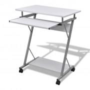 vidaXL Computer Iróasztal KIhuzható Tálcás Office Diák Asztal Fehér