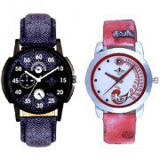Cronograph Blue Leather Strap And Red Peacock Feathers Girls Analogue Watch By Taj Avenue