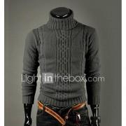 Heren Casual/Dagelijks Vintage Eenvoudig Normaal Pullover Effen-Coltrui Lange mouw Wol Winter Dik Rekbaar