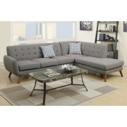 2 pc abigail collection grey linen like fabric upholstered sectional sofa with tufted back