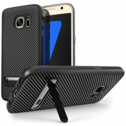 Samsung Galaxy S7 Ultra Thin Slim Carbon TPU Case With Stand - Black
