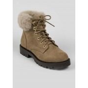Matalan Fur Trim Lace Up Boots in Size 3, Taupe