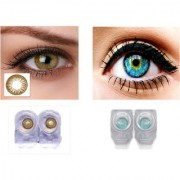 Magjons 2 Pair turquoise Hazel 0 Power Party Contact Lean Monthly Use With 80ml Solution Lens Case