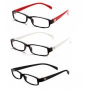 MagJons Red White Black Rectangle Unisex spectacles eye wear frame - Combo Of 3