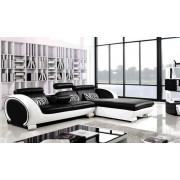 items-france XENON 2+ FAUTEUIL - Canape d'angle noir en cuir + fauteuil