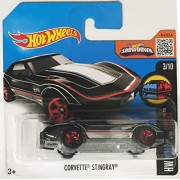 Black Corvette Stingray Hot Wheels 2016 Hw Mild To Wild Series 3/10 1:64 Scale Collectible Die Cast Metal Toy Car Model #58/250 On International Short Card