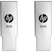 HP V237W Combo of Two 16 GB Metal Pen Drive USB 2.0 Flash Drive 16 GB Pen Drive(Silver)