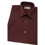 Pánská košile KLASIK krátký rukáv Bordo melír 351-28-39/182