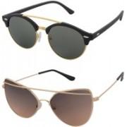 Aventus Round, Cat-eye Sunglasses(Green, Brown)