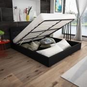 vidaXL Хидравлично легло с матрак, изкуствена кожа, 160x200 cм, черно