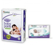Himalaya Total Care Baby Diaper Pants (S) 28 + Himalaya Gentle Baby Wipes 24's