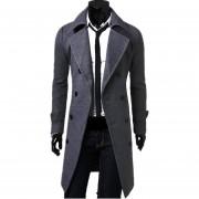 Hombre De Slim Fit Doble Botón Breasted Coat (gris)
