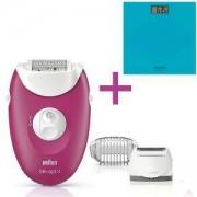 Епилатор Braun Silk-epil 3 3-410, 20 пинсети, SmartLight + Електронен кантар Tefal PP1133V0