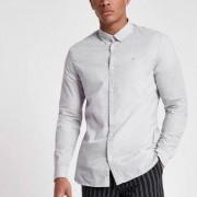 River Island Mens Grey slim fit long sleeve shirt - Size XS (EU)