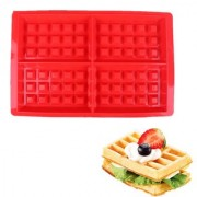 D S 4-Cavity Silicone Waffle Mold Belgian Waffle Chocolate Candy Soap Non-Stick Microwave pack of 1