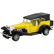 DealBindaas Metal Die Cast 132 Classic Old Antique Car Model Pull Back Action Opening Doors Dinky Car Toys Children Gift Collection Yellow