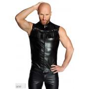 Noir Handmade Fringed Zipper Vest Muscle Shirt Sleeveless Black H040