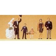 Bride & Groom w/Flower Girl, Ring Bearer & Adult Couple HO Scale Preiser Models