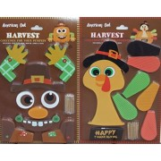 American Oak Pumpkin Decor Kit Push in No Carving for Fall Halloween Thanksgiving 2Pk (Scarecrow / Turkey)