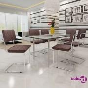 vidaXL Blagovaonske Stolice 6 kom Umjetna Koža Smeđa