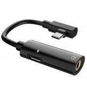 Hoco LS19 2-in-1 Type-C / 3.5mm Audio %26 Charging Adapter - Black