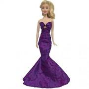 Ocamo Fashion Ruffle Wedding Party Gown Mermaid Dresses Clothes for 30cm Barbie Doll Xmas Birthday Gift