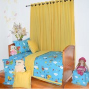 Blue Nursery Print Double bed Bedding Set - 8 Pieces