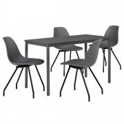 PremiumXL - [en.casa] Dizajn blagovaonski set - stol (tamno sivi, 140x60cm) - sa 4 stolice(tamno sive)