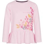 Endo Bluzka z długim rękawem dla dziewczynki, z ozdobną falbanką, różowa, 3-8 lat