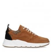 Manfield Bruine sneakers van suède