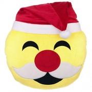 "Emoji Santa Laugh Cry - No Tear Expression Smiley Face Emoticons 9"" Round Pillow Plush Cushion - Yellow by Emoji Expressions"