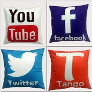 Cool Social Media Logo Pillows For Your Home Car Room Bed Sofa Whatsapp Twitter Wechat FacebookYoutube (Twitter Pillow)