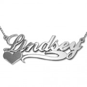 Personalized Men's Jewelry Side Heart Silver Name Necklace 101-01-068-02