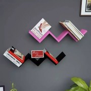 Onlineshoppee Handicraft W Shape Designer MDF Wall Shelf - Set Of 2 - Pink Black