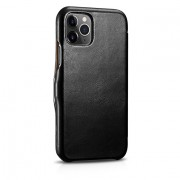 ICARER Vintage Design Genuine Leather Phone Case Cover for iPhone 11 Pro Max 6.5-inch - Black