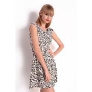 Dámské krémové šaty se vzorem 8176