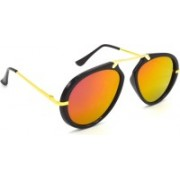 Redleaf Wrap-around, Aviator Sunglasses(Golden, Pink)